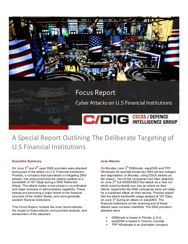 CSCSS Defence Intelligence Report - Attacks on the U.S. Financial System