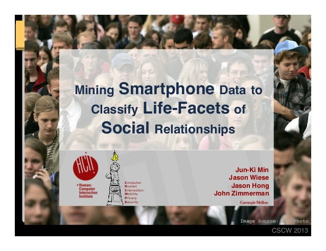 """CSCW 2013! Image Source: BYU Photo  Mining Smartphone Data to Classify Life-Facets of Social Relationships"""" Jun-Ki Min ..."""