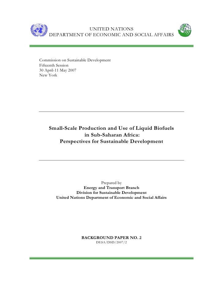 Small-Scale Production and Use of Biofuels for Sustainable Development in Sub-Saharan Africa