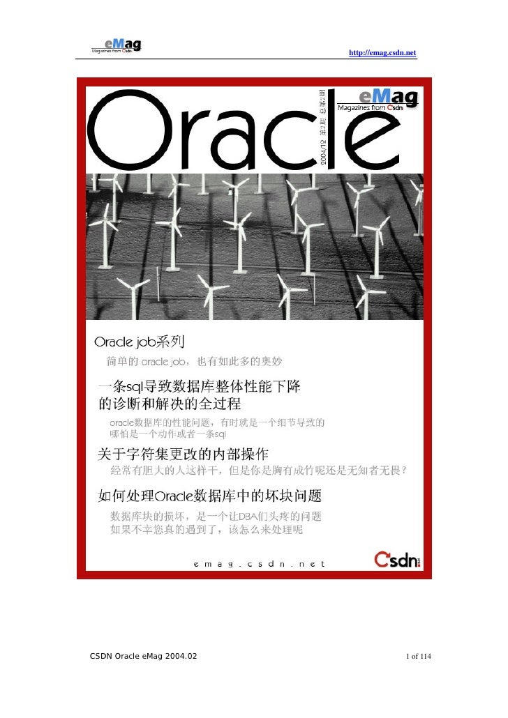 http://emag.csdn.net     CSDN Oracle eMag 2004.02                   1 of 114