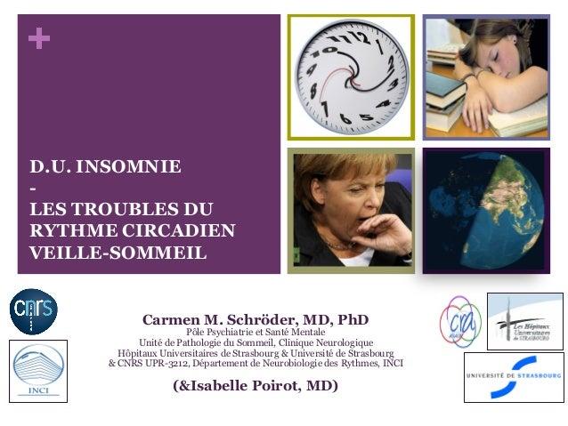 + D.U. INSOMNIE - LES TROUBLES DU RYTHME CIRCADIEN VEILLE-SOMMEIL Carmen M. Schröder, MD, PhD Pôle Psychiatrie et Santé Me...
