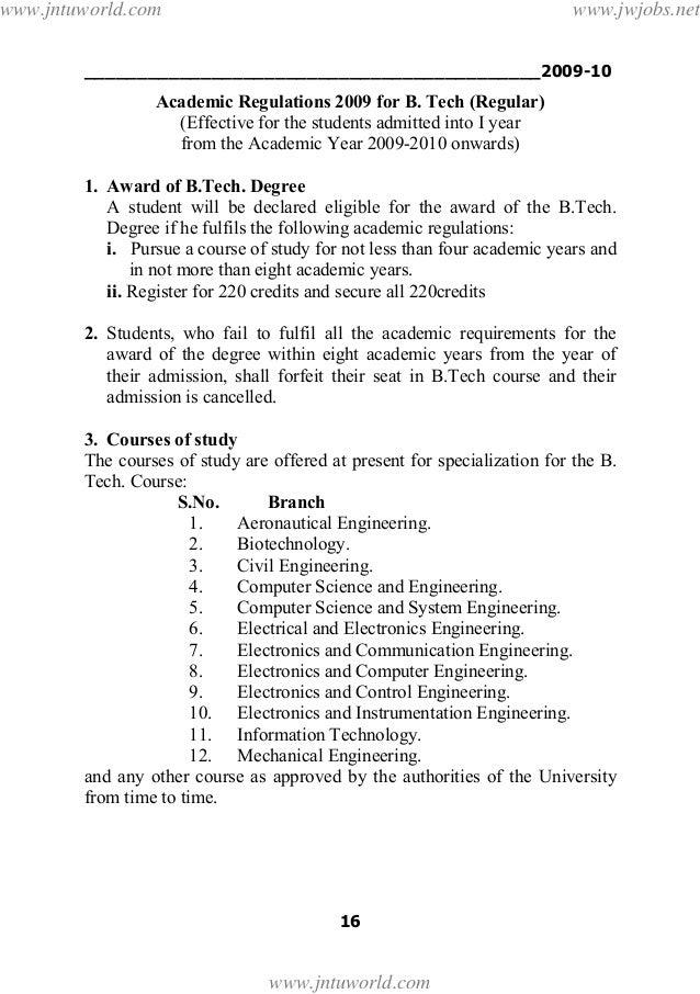 ___________________________________________2009-1016Academic Regulations 2009 for B. Tech (Regular)(Effective for the stud...