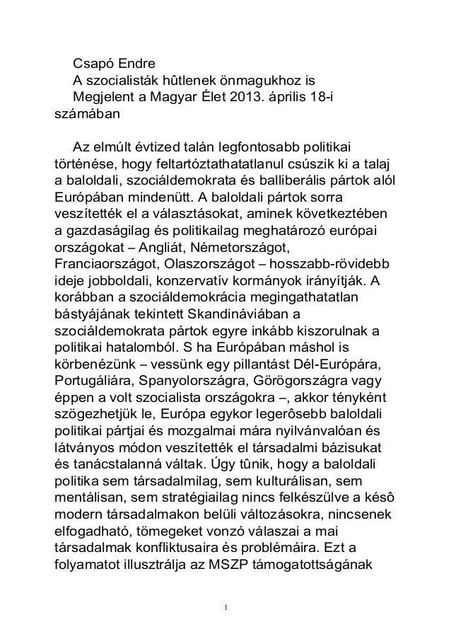 Csapó EndreA szocialisták hûtlenek önmagukhoz isMegjelent a Magyar Élet 2013. április 18-iszámábanAz elmúlt évtized talán ...