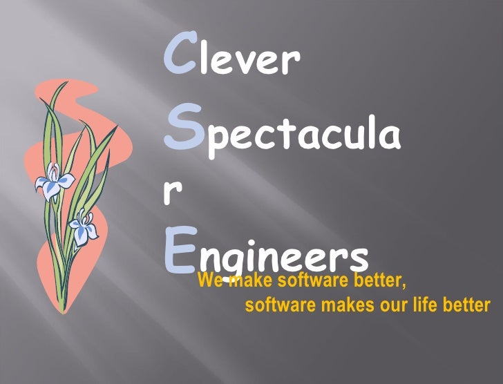 C lever  S pectacular  E ngineers We make software better, software makes our life better