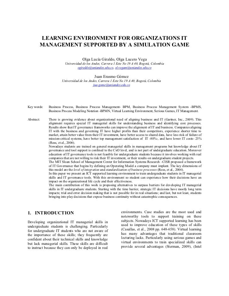 LEARNING ENVIRONMENT FOR ORGANIZATIONS IT        MANAGEMENT SUPPORTED BY A SIMULATION GAME                                ...