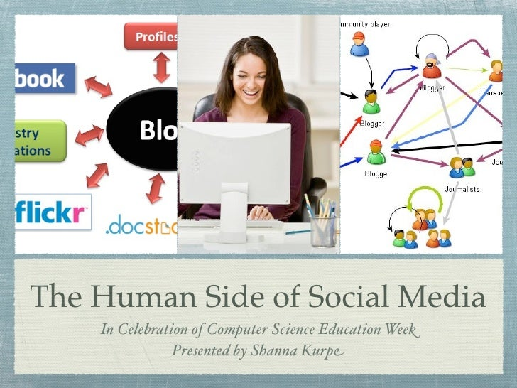 The Human Side of Social Media    In Celebration of Computer Science Education Week                Presented by Shanna Kurpe