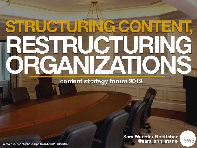 Structuring Content, Restructuring Organizations - CS Forum 2012