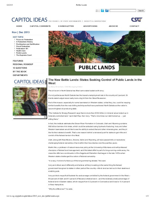 12/2/13  Public Lands    HOME    CAPITOL COMMENTS  E­NEWSLETTER     ADVERTISING     ARCHIVE    Search  CONTACT  Nov | Dec ...