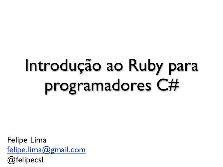 Introdução a Ruby para Programadores C#