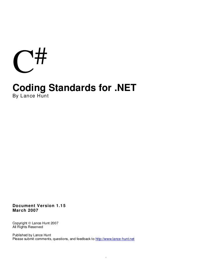 C sharp codingstandards