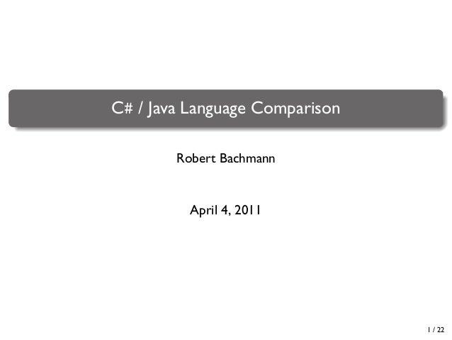 C# / Java Language Comparison