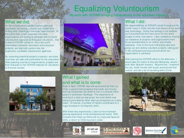 Equalizing Voluntourism My work with VOFAIR bringing transparency to the volunteer industry.  What we did:  What I did:  A...