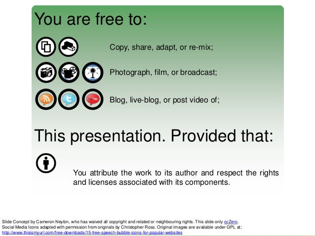 You are free to: Copy, share, adapt, or re-mix; Photograph, film, or broadcast;  Blog, live-blog, or post video of;  This ...