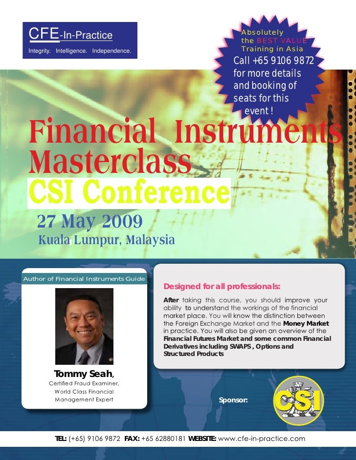 Csi 2009 Conference  Financial Instruments Master Class