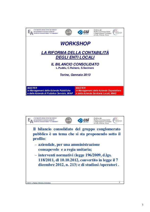 """Workshop """"La riforma della contabilità degli Enti locali"""" 30.1.13 - Il bilancio consolidato"""