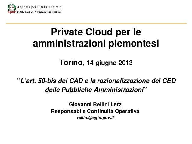 Private Cloud per le amministrazioni piemontesi - Rellini