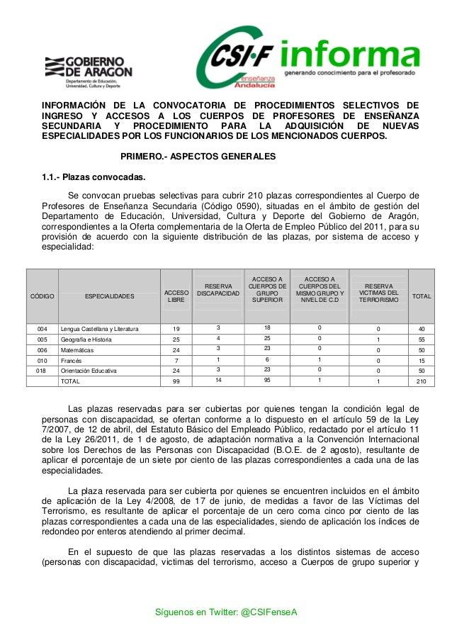 Informaci n sobre las oposiciones docentes de arag n 2014 for Csif ensenanza exterior