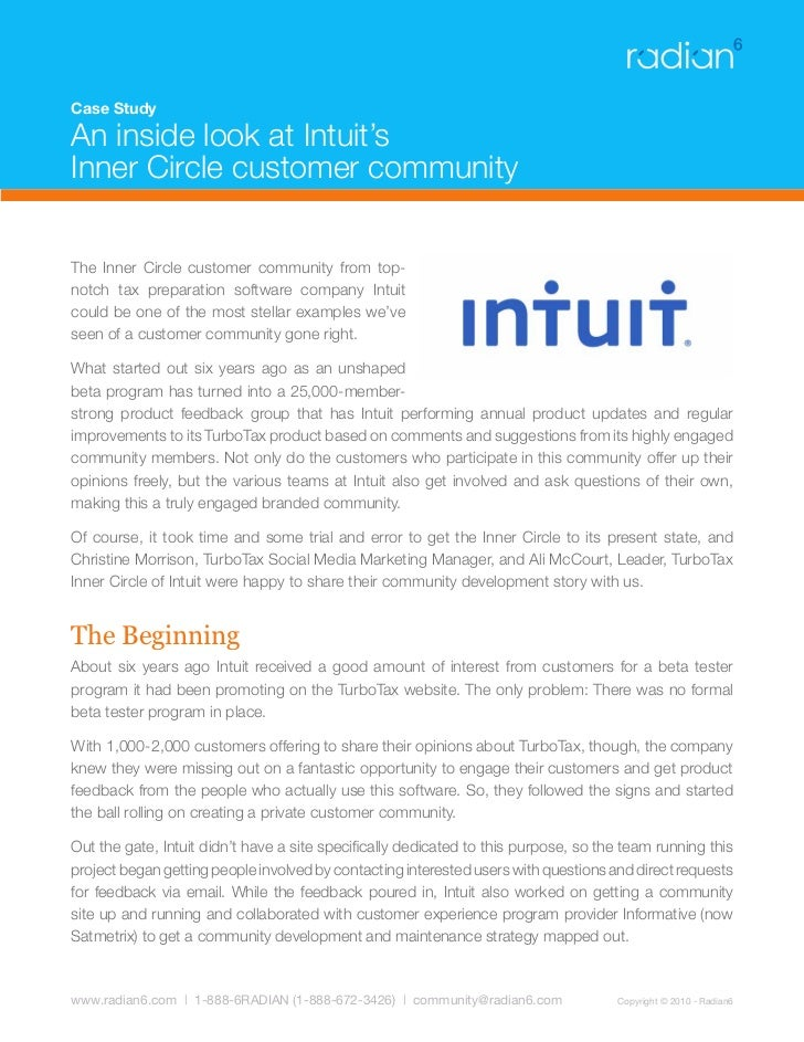 Case Study  An inside look at Intuit's Inner Circle customer community   The Inner Circle customer community from top- not...
