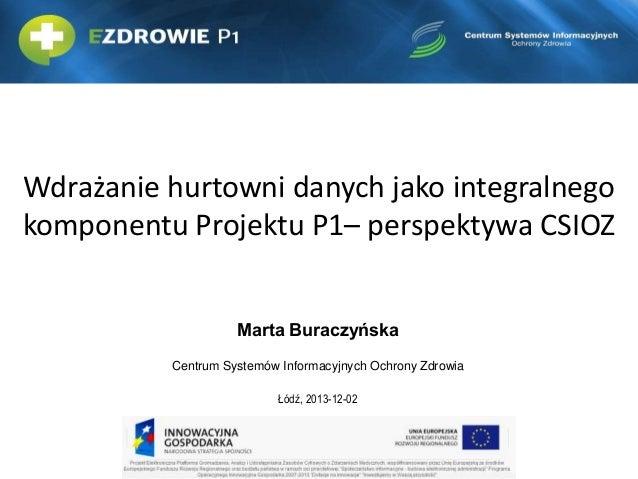 Wdrażanie hurtowni danych jako integralnego komponentu Projektu P1– perspektywa CSIOZ Marta Buraczyńska Centrum Systemów I...