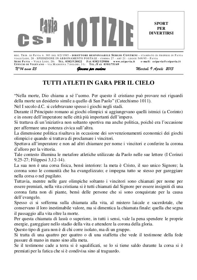 Csi pavia notizie_n_14_del_09.04.13