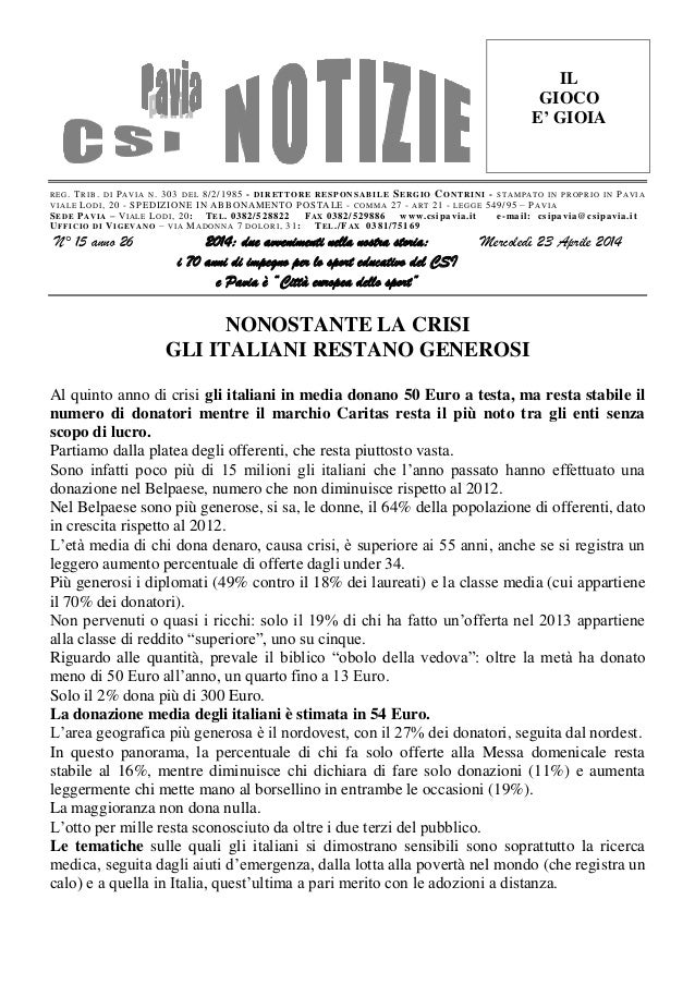Csi pavia notizie_n_15_del_23.04.14
