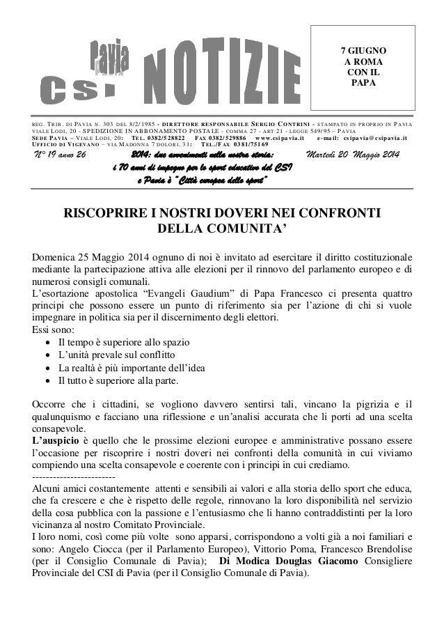 Csi pavia notizie_n_19_del_20.05.14