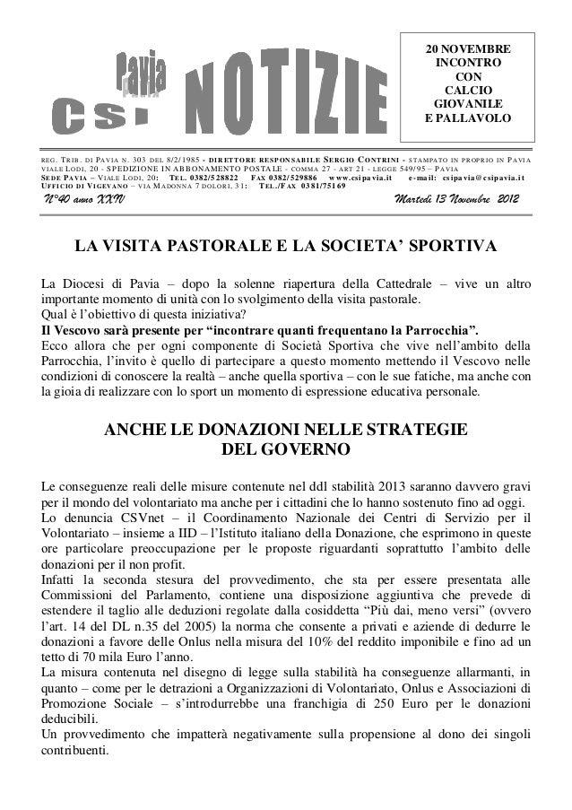 Csi pavia notizie_n_40_del_13.11.12