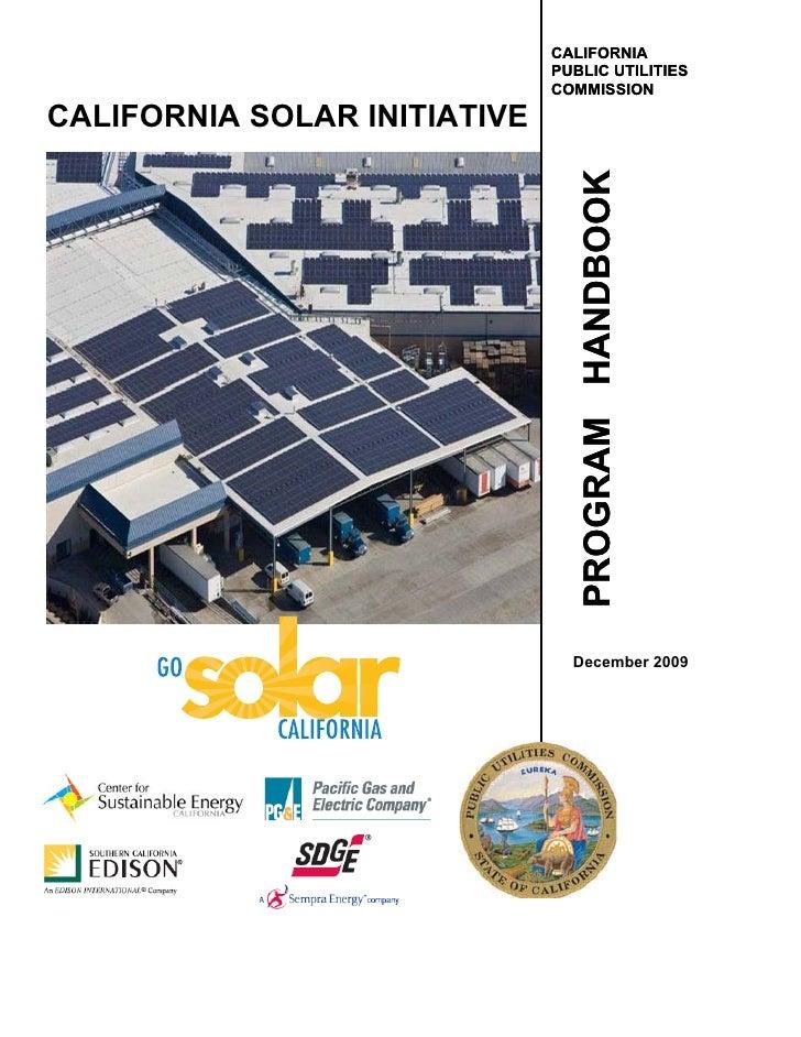 CALIFORNIA                               PUBLIC UTILITIES                               COMMISSION  CALIFORNIA SOLAR INITI...