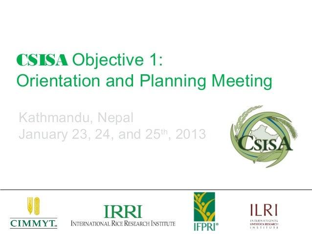 CSISA Objective 1:Orientation and Planning MeetingKathmandu, NepalJanuary 23, 24, and 25th, 2013