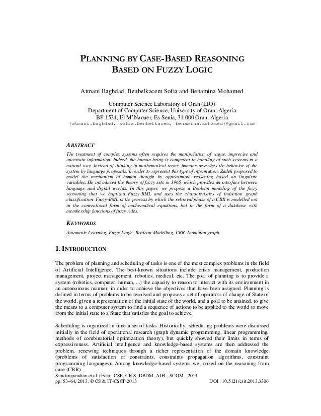 PLANNING BY CASE-BASED REASONING BASED ON FUZZY LOGIC