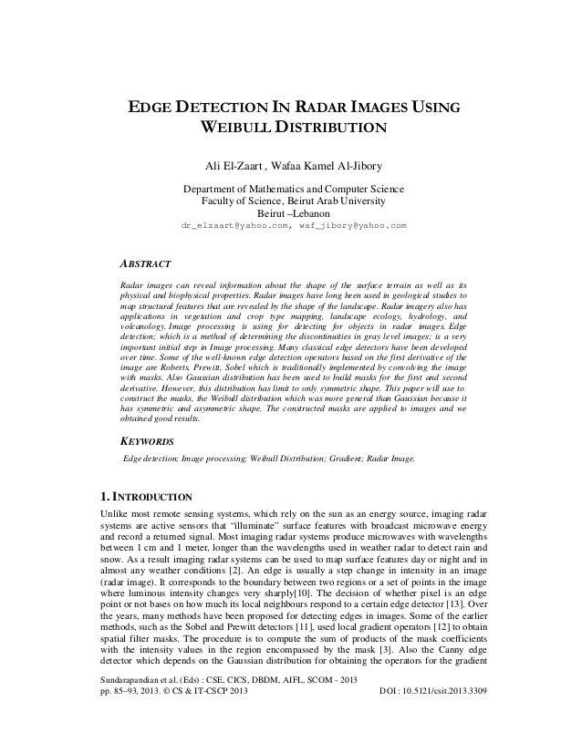 EDGE DETECTION IN RADAR IMAGES USING WEIBULL DISTRIBUTION