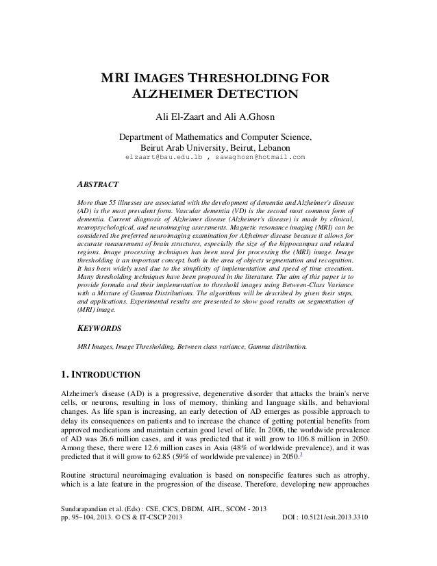 MRI IMAGES THRESHOLDING FOR ALZHEIMER DETECTION