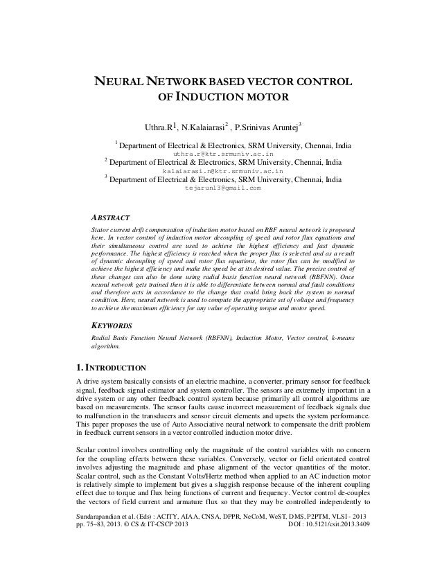 NEURAL NETWORK BASED VECTOR CONTROL OF INDUCTION MOTOR