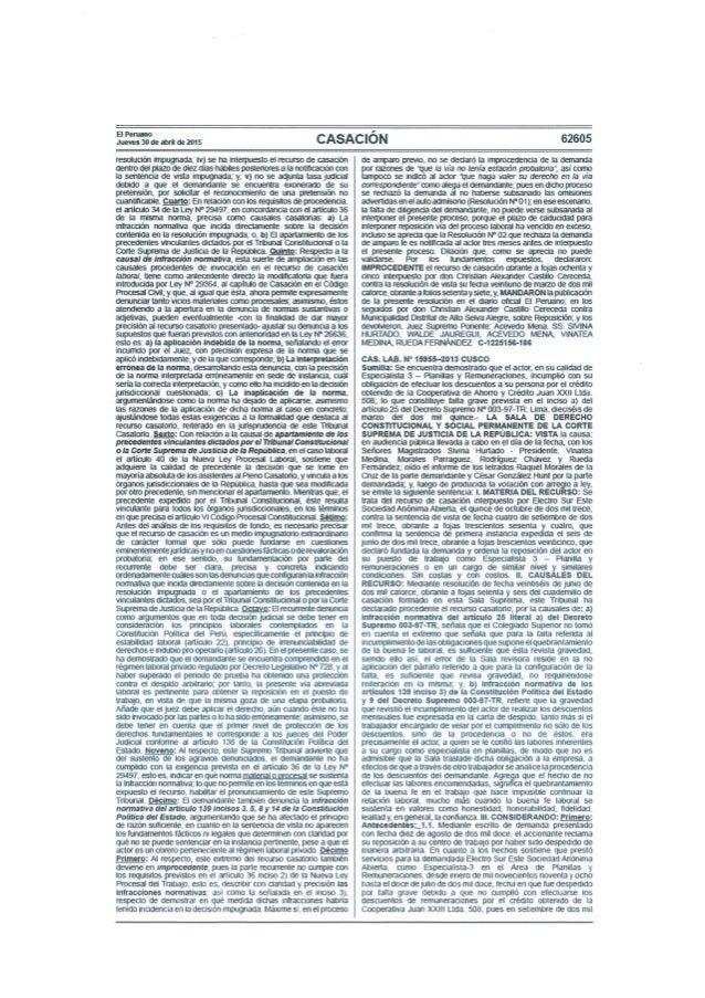 EIPerunno Jueves30deabride2015  CASACIÓN  62605  resolución 'Inpugnada;  iv)sena iiterpuestoelrecursoderzsaaon dentrodel ¡...