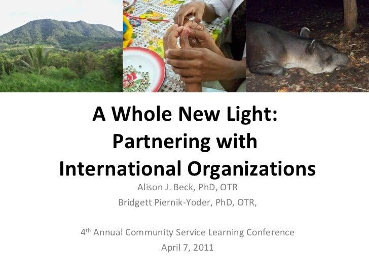A Whole New Light:  Partnering with  International Organizations Alison J. Beck, PhD, OTR Bridgett Piernik-Yoder, PhD, OTR...
