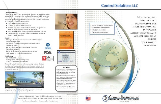 Control Solutions LLC        Customer Intimacy        Control Solutions LLC is a privately-held dynamic and rapidly-growin...