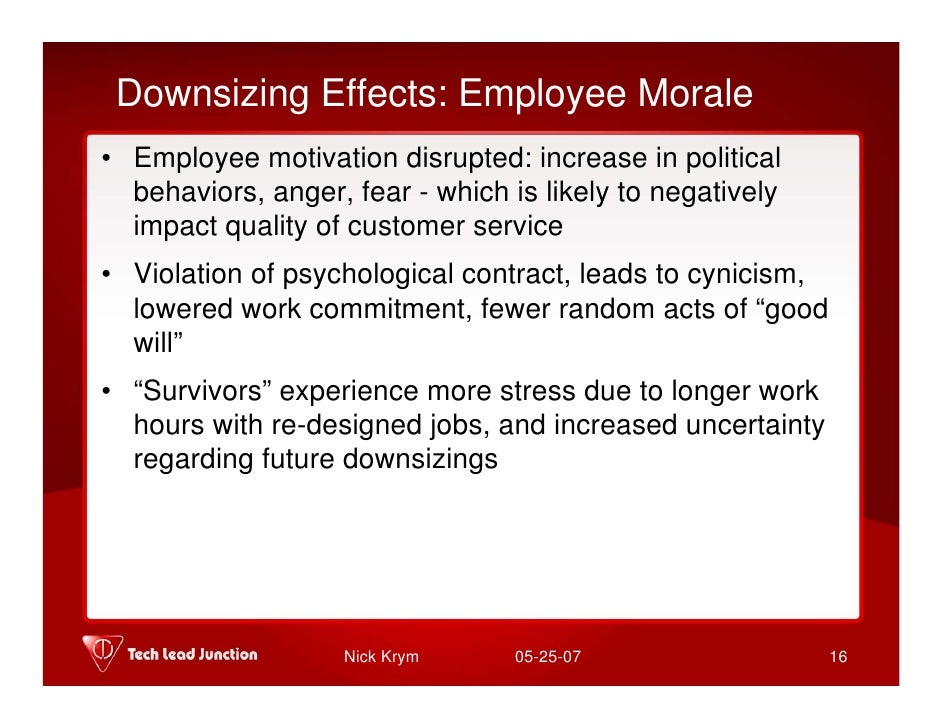 employee morale after downsizing Free essay: employee morale after downsizing downsizing has become a significant idea in today's economy and maintaining the trust of employees when.