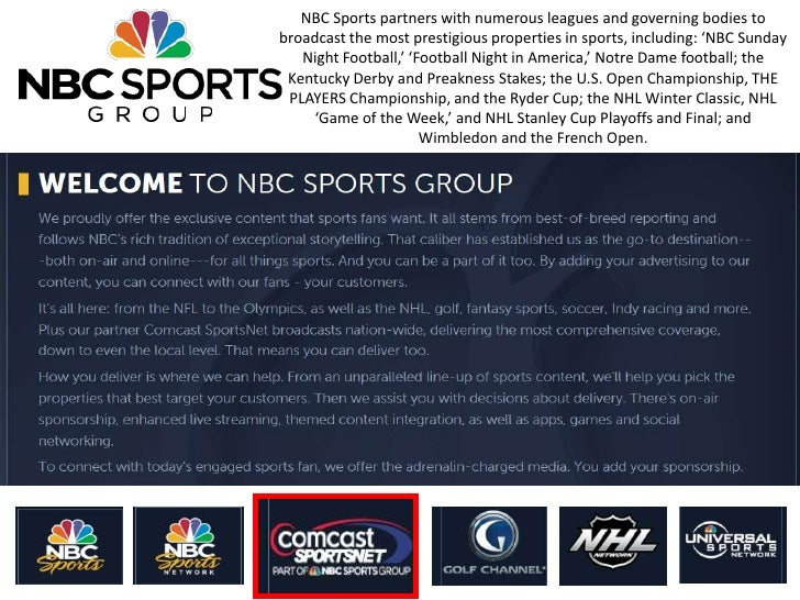 NBC Sports partners with numerous leagues and governing bodies tobroadcast the most prestigious properties in sports, incl...