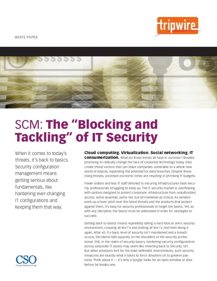 """SCM: The """"Blocking and Tackling"""" of IT Security"""