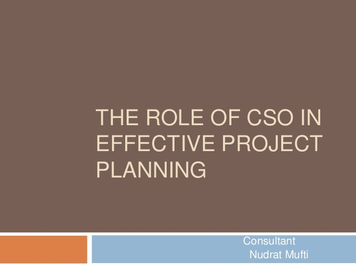 THE ROLE OF CSO INEFFECTIVE PROJECTPLANNING           Consultant            Nudrat Mufti