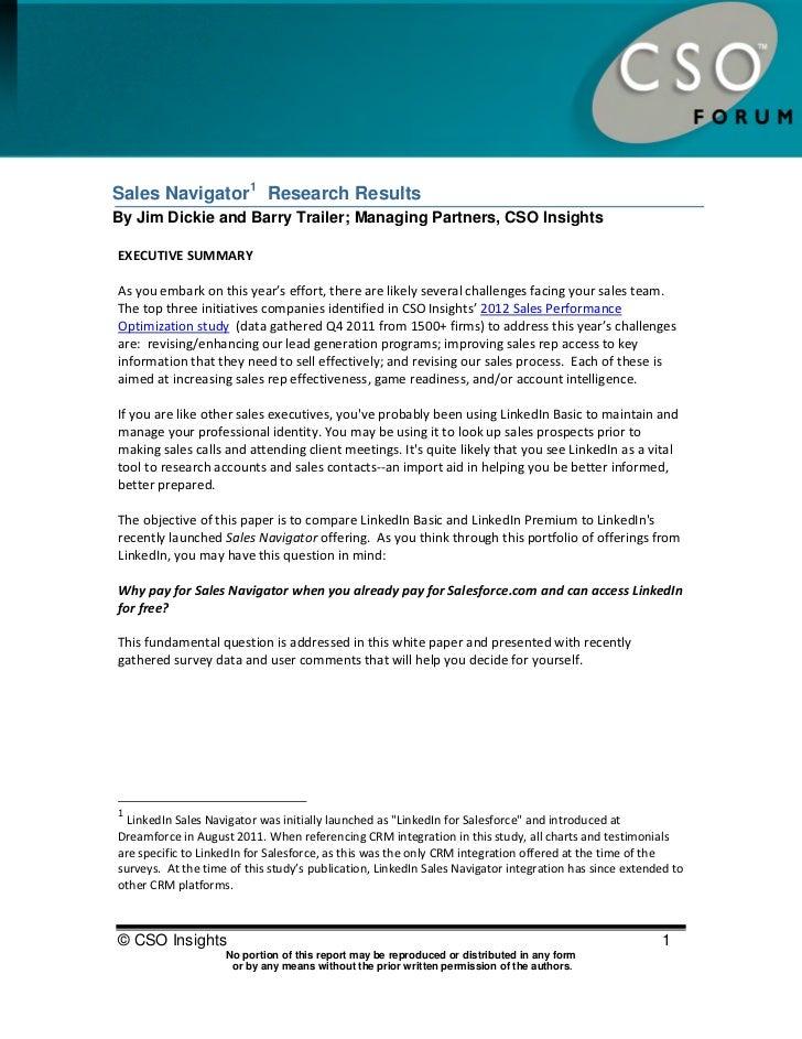 CSO Sales Navigator Research