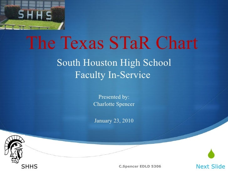 The Texas STaR Chart South Houston High School Faculty In-Service  Presented by: Charlotte Spencer January 23, 2010 Next S...
