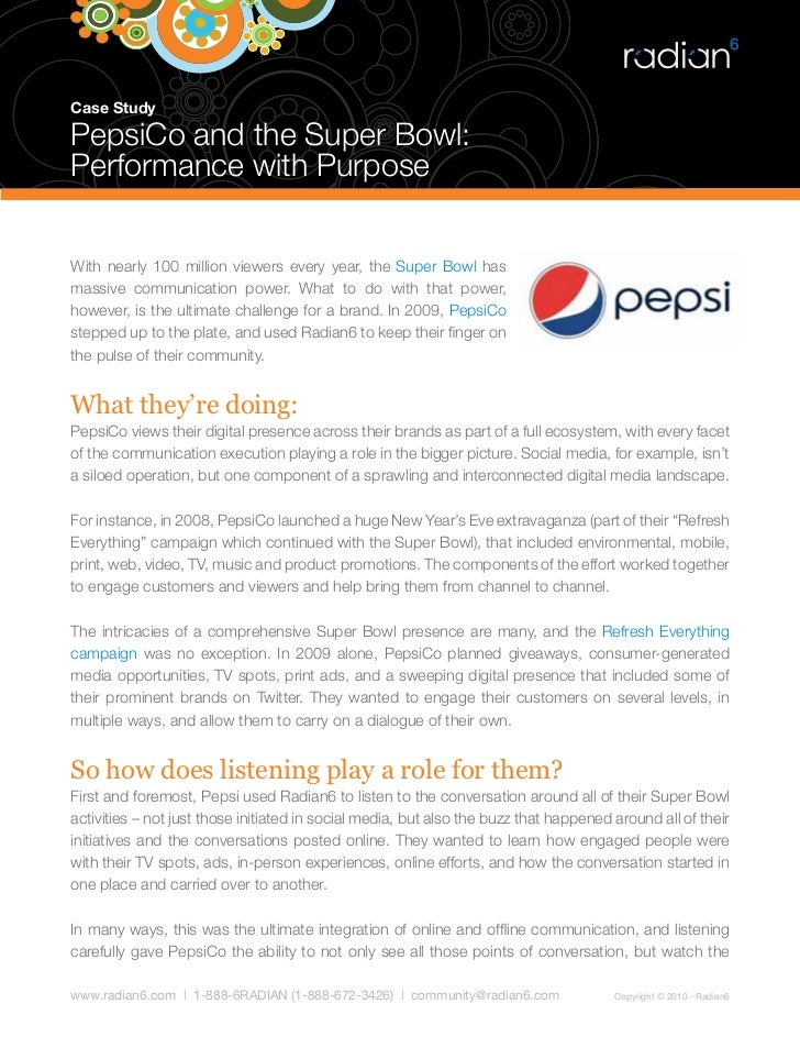 pepsi marketing case study solved This case study focuses on the successful employment and advancement of one  of  the pepsi brand pioneered marketing and national lifestyle advertising   pepsico business+information solutions (bis) employee jay macarty has been.
