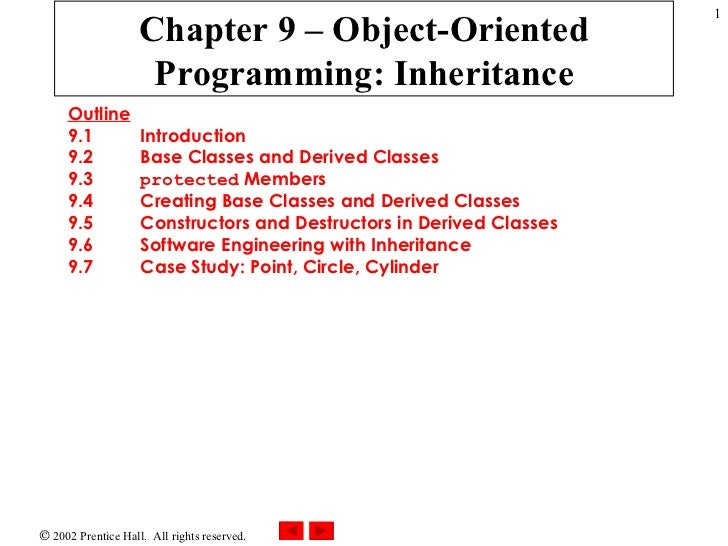 Chapter 9 – Object-Oriented Programming: Inheritance Outline 9.1 Introduction 9.2 Base Classes and Derived Classes 9.3 pro...