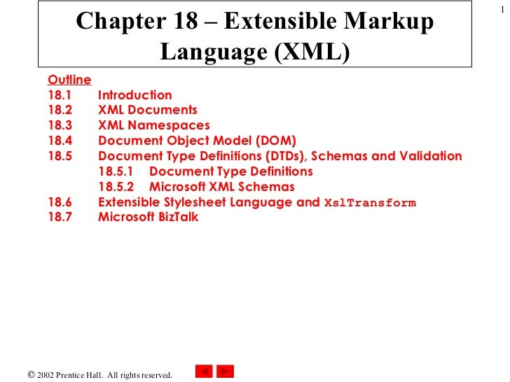 Chapter 18 – Extensible Markup Language (XML) Outline 18.1  Introduction 18.2  XML Documents 18.3  XML Namespaces 18.4  Do...