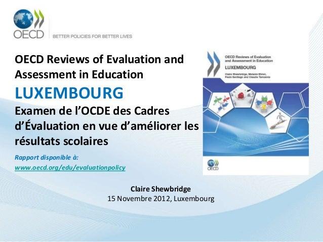 Cadres d'évaluation en vue d'améliorer les résultats scolaires