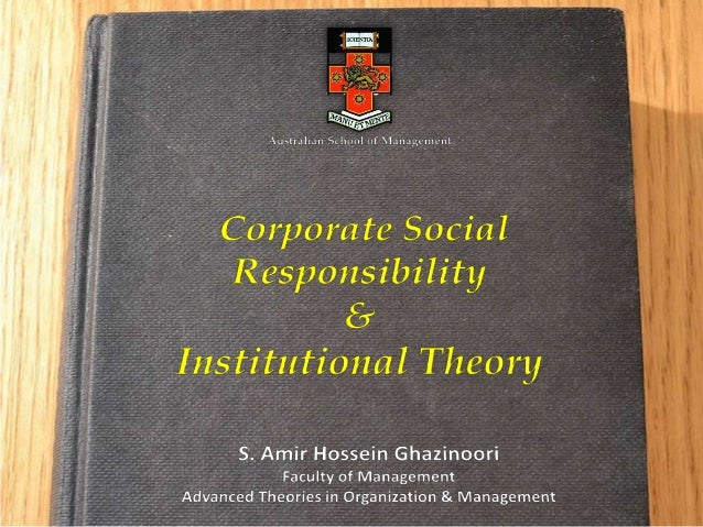 a summary of institutional theory Institutional theory: meyer & rowan, dimaggio & powell institutional theorists  assert that the institutional environment can strongly influence the development  of.