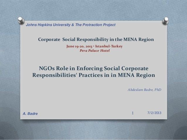 Corporate Social Responsibility in the MENA Region June 19-20, 2013 • Istanbul-Turkey Pera Palace Hotel NGOs Role in Enfor...