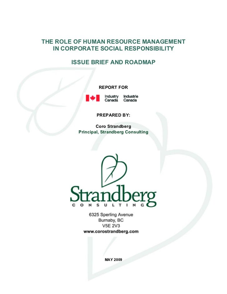 The Role of Human Resource Management in CSR