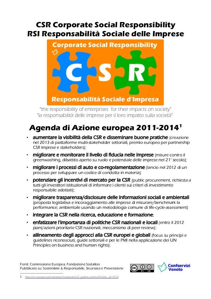 CSR Corporate Social Responsibility agenda azione europea 2011 2014